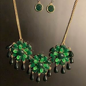 New Emerald green flowers with tear drop dangles